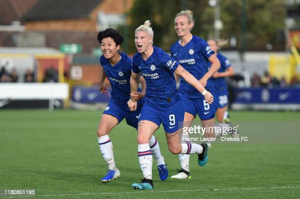 Bethany England of Chelsea celebrates after scoring her team's first goal during the Barclays FA Women's Super League match between Chelsea and...