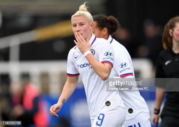 Bethany England of Chelsea celebrates after scoring her team's first goal during the Continental Tyres Cup Group D match between Crystal Palace Women...