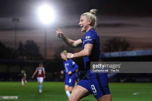 Bethany England of Chelsea celebrates after scoring her team's fourth goal during the FA Women's Continental League Cup Semi Final match between...