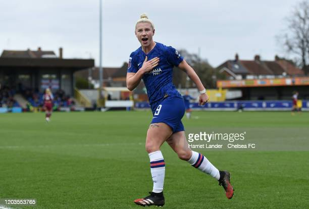 Bethany England of Chelsea celebrates after scoring her team's second goal during the Barclays FA Women's Super League match between Chelsea and West...