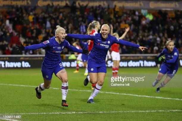 Bethany England of Chelsea celebrates after scoring her team's second goal during the FA Women's Continental League Cup Final Chelsea FC Women and...