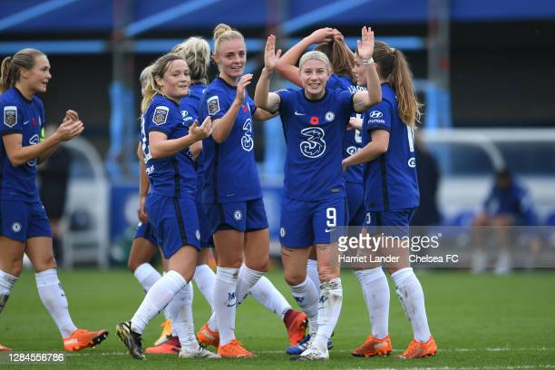 Bethany England of Chelsea celebrates after scoring her team's second goal during the Barclays FA Women's Super League match between Chelsea Women...