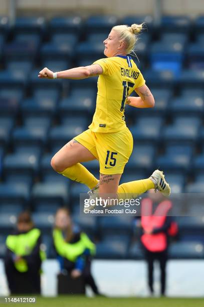 Bethany England of Chelsea celebrates after scoring her team's third goal during the WSL Match between Reading FC Women and Chelsea Women at Adams...