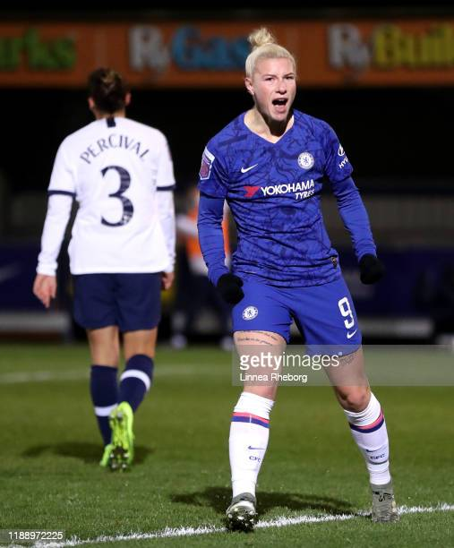 Bethany England of Chelsea celebrates after scoring her team's third goal during the FA Women's Continental League Cup game between Chelsea Women and...