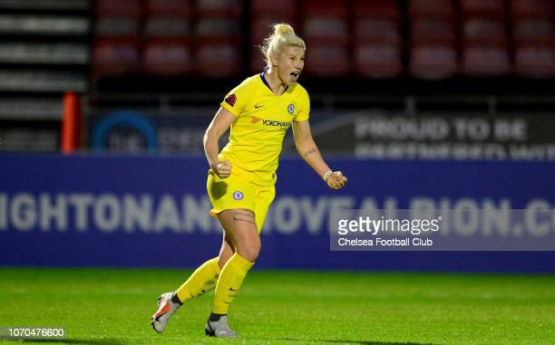 Bethany England of Chelsea celebrates after she scores to make it 40 during a WSL match between Brighton and Hove Albion Women and Chelsea Women at...