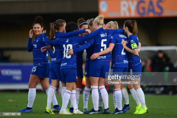 Bethany England of Chelsea celebrates with her team mates after she scores to make it 50 during a WSL match between Chelsea Women and Yeovil Town...