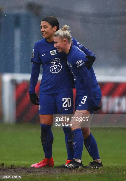 Bethany England of Chelsea celebrates with Sam Kerr after scoring their team's fifth goal during the Barclays FA Women's Super League match between...