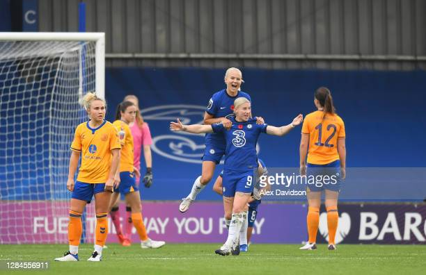 Bethany England of Chelsea celebrates with team mate Pernille Harder after scoring her sides second goal during the Barclays FA Women's Super League...