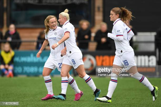Bethany England of Chelsea celebrates with teammate Erin Cuthbert after scoring her team's second goal during the Continental Tyres Cup Group D match...