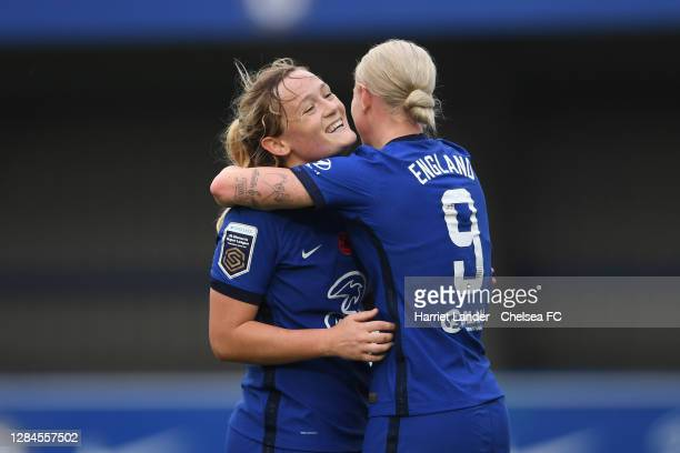 Bethany England of Chelsea celebrates with teammate Erin Cuthbert after scoring her team's third goal during the Barclays FA Women's Super League...