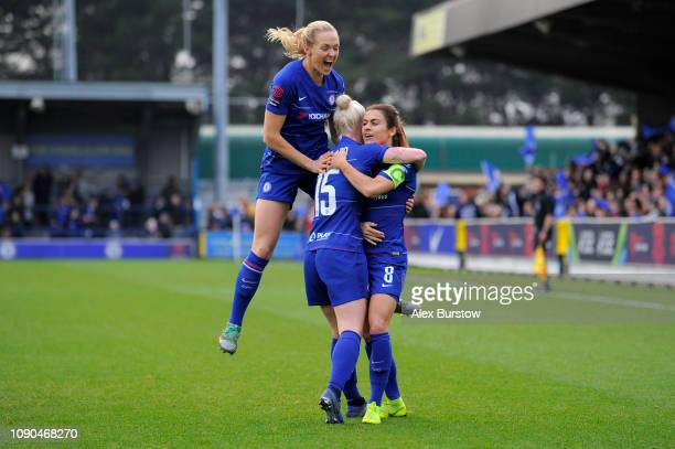 Bethany England of Chelsea celebrates with teammates after scoring her team's first goal during the FA Women's Super League match between Chelsea...
