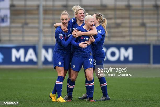 Bethany England of Chelsea celebrates with teammates after scoring her team's third goal during the Barclays FA Women's Super League match between...