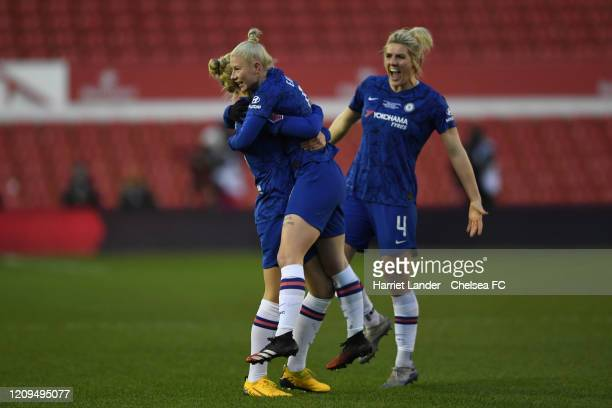 Bethany England of Chelsea celebrates with teammates after scoring her team's first goal during the FA Women's Continental League Cup Final Chelsea...