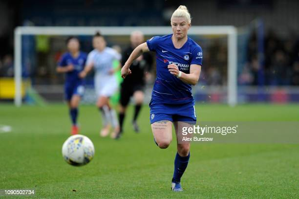 Bethany England of Chelsea chases the ball during the FA Women's Super League match between Chelsea Women and Everton Ladies at The Cherry Red...