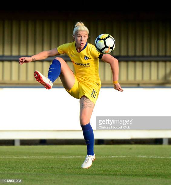 Bethany England of Chelsea controls the ball in the air during a preseason friendly between Chelsea Ladies and Juventus Women at The Cherry Red...