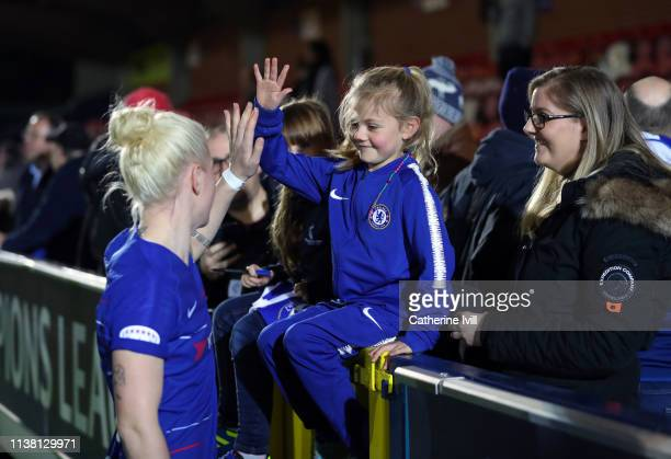 Bethany England of Chelsea greets a fan after the UEFA Women's Champions League Quarter Final First Leg match between Chelsea Women and Paris...