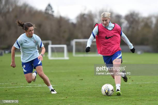Bethany England of Chelsea is challenged by Jessie Fleming of Chelsea during a Chelsea FC Women's Training Session at Chelsea Training Ground on...