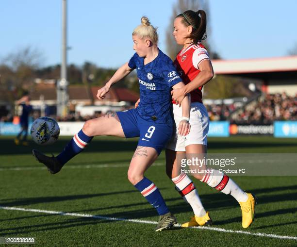 Bethany England of Chelsea is challenged by Katie McCabe of Arsenal during the Barclays FA Women's Super League match between Arsenal and Chelsea at...
