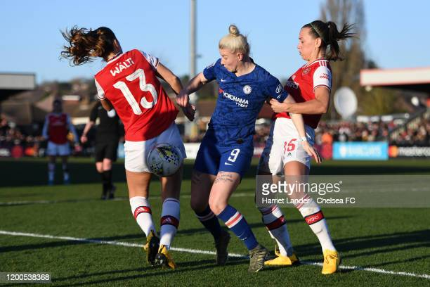 Bethany England of Chelsea is challenged by Katie McCabe of Arsenal and Lia Walti of Arsenal during the Barclays FA Women's Super League match...