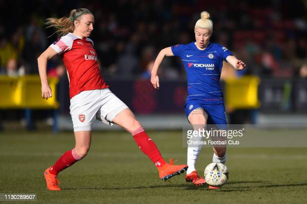 Bethany England of Chelsea is challenged by Louise Quinn of Arsenal during the SSE Women's FA Cup Fifth Round match between Chelsea Women and Arsenal...