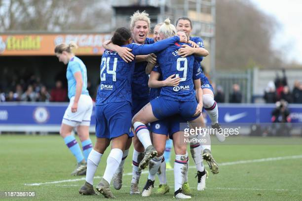 Bethany England of Chelsea Ladies celebrates with her team mates after scoring the winning goal during the Barclays FA Women's Super League match...