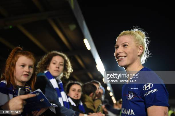 Bethany England of Chelsea looks on after the FA WSL match between Chelsea Women and Bristol City Women at Kingsmeadow on February 20 2019 in...
