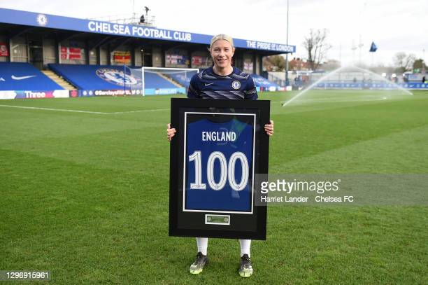 Bethany England of Chelsea poses for a photo with a commemorative shirt marking her 100 appearances for the club prior to the Barclays FA Women's...
