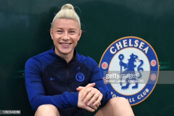 Bethany England of Chelsea poses for a photograph as she signs a contracts extension with Chelsea FC Women at Chelsea Training Ground on July 29 2020...