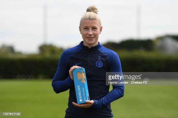 Bethany England of Chelsea poses for a photograph with her Barclays FA Women's Super League Player of the Season 2019/20 award during a Chelsea FC...