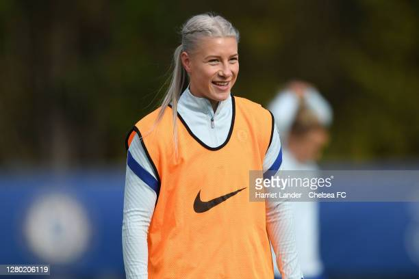 Bethany England of Chelsea reacts during a Chelsea FC Women's Training Session at Chelsea Training Ground on October 14 2020 in Cobham England