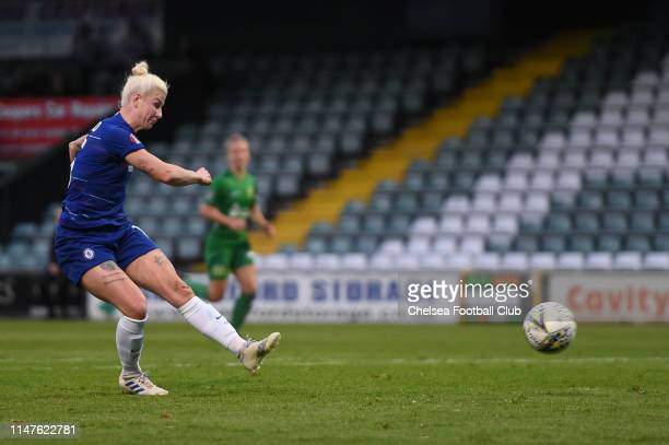 Bethany England of Chelsea scores her team's fifth goal during the WSL match between Yeovil Town Ladies and Chelsea Women at Huish Park on May 07...