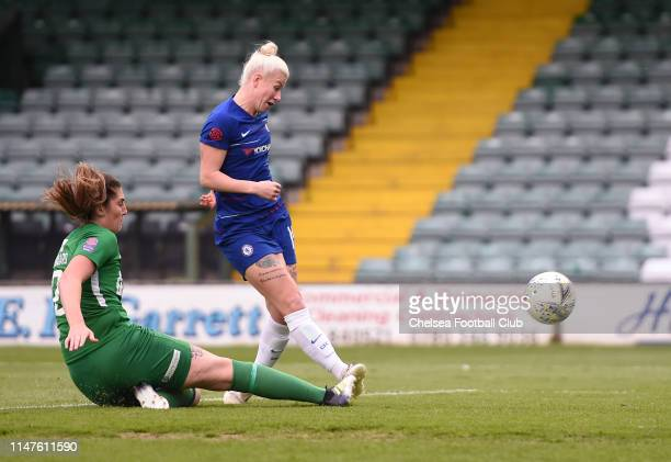 Bethany England of Chelsea scores her team's first goal during the WSL match between Yeovil Town Ladies and Chelsea Women at Huish Park on May 07...