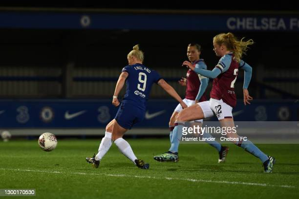 Bethany England of Chelsea scores her team's fourth goal during the FA Women's Continental League Cup Semi Final match between Chelsea and West Ham...