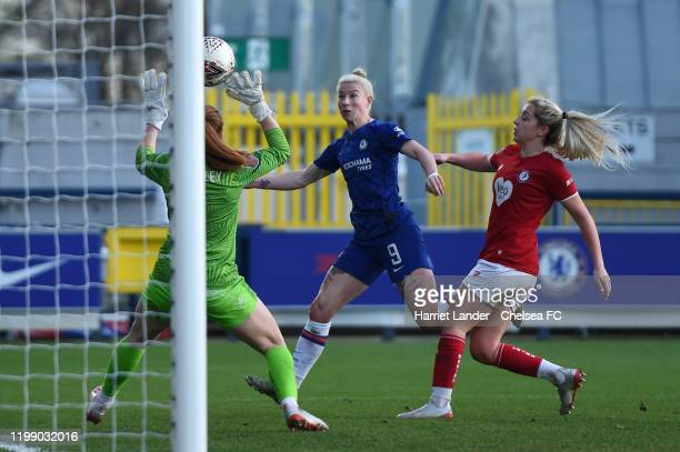 Bethany England of Chelsea scores her team's sixth goal during the Barclays FA Women's Super League match between Chelsea and Bristol City at...