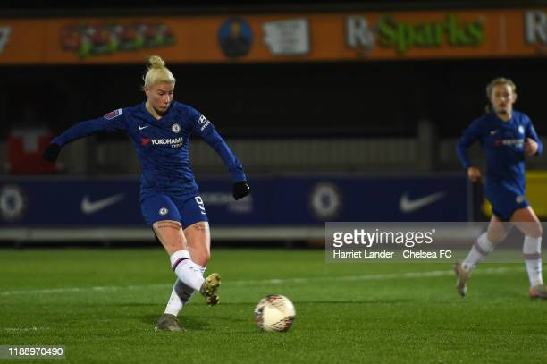 Bethany England of Chelsea scores her team's third goal during the FA Women's Continental League Cup game between Chelsea Women and Tottenham Hotspur...