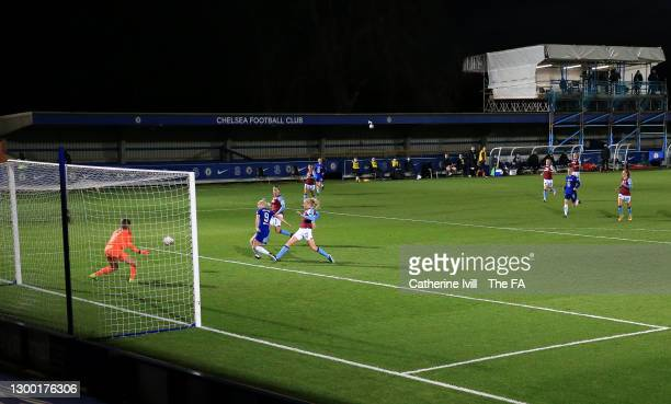Bethany England of Chelsea scores her team's third goal during the FA Women's Continental League Cup Semi Final match between Chelsea and West Ham...