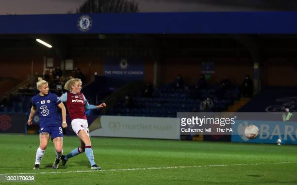 Bethany England of Chelsea scores their side's fourth goal during the FA Women's Continental League Cup Semi Final match between Chelsea and West Ham...
