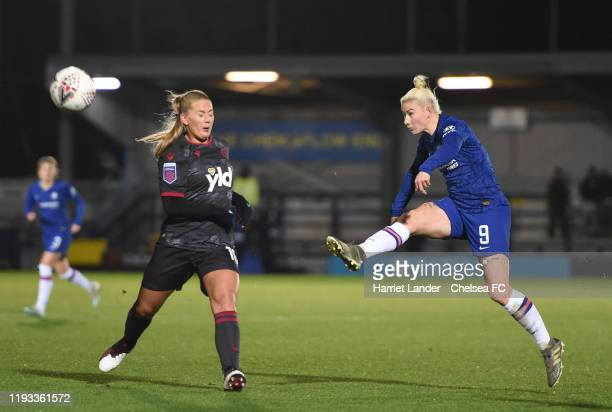 Bethany England of Chelsea shoots during the FA Women's Continental League Cup game between Chelsea Women and Reading Women at The Cherry Red Records...
