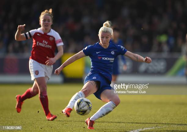 Bethany England of Chelsea shoots during the SSE Women's FA Cup Fifth Round match between Chelsea Women and Arsenal Women at The Cherry Red Records...
