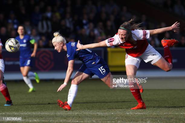 Bethany England of Chelsea Women and Louise Quinn of Arsenal Women challenge for the ball during the SSE Women's FA Cup Fifth Round match between...