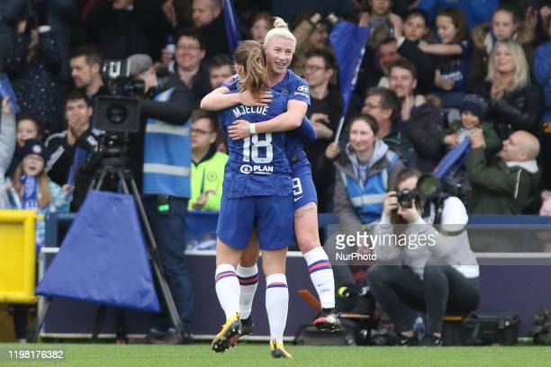Bethany England of Chelsea Women and Maren Mjelde of Chelsea Women celebrating her team's second goalduring the Barclays FA Women's Super League...