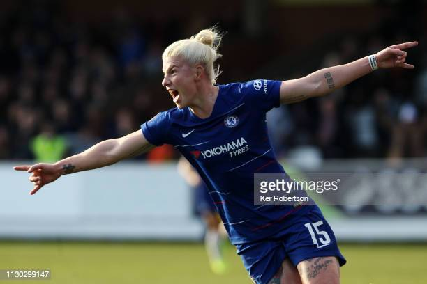 Bethany England of Chelsea Women celebrates scoring her sides third goal during the SSE Women's FA Cup Fifth Round match between Chelsea Women and...