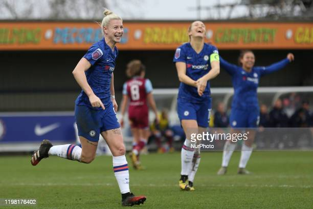 Bethany England of Chelsea Women celebrating her team's fifth goal during the Barclays FA Women's Super League match between Chelsea and West Ham...