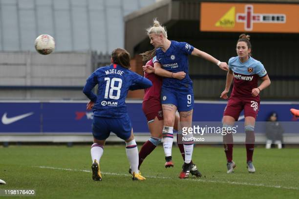 Bethany England of Chelsea Women scoring her team's fifth goal during the Barclays FA Women's Super League match between Chelsea and West Ham United...