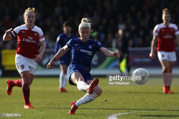 Bethany England of Chelsea Women shoots on goal during the SSE Women's FA Cup Fifth Round match between Chelsea Women and Arsenal Women at The Cherry...