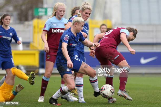 Bethany England of Chelsea Women tackling Laura Vetterlein of West Ham United Women during the Barclays FA Women's Super League match between Chelsea...