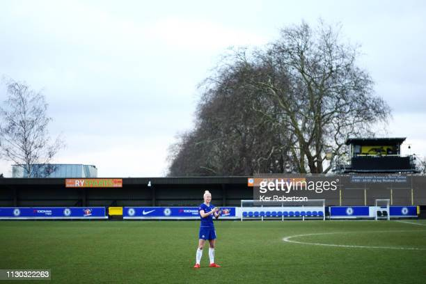 Bethany England of Chelsea Women talks with media and fans following the SSE Women's FA Cup Fifth Round match between Chelsea Women and Arsenal Women...