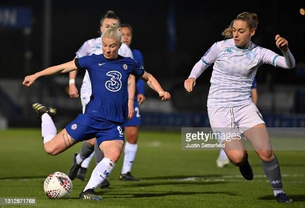 Bethany England of Chelseas has a shot blocked by Ylenia Priest of London City Lionessesduring the Vitality Women's FA Cup Fourth Round match between...