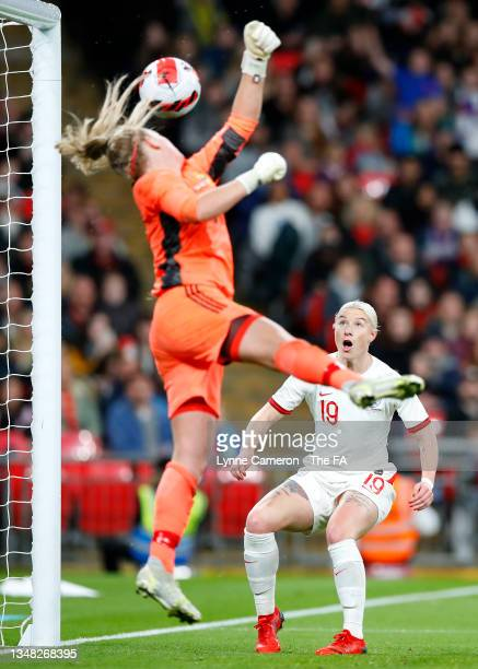 Bethany England of England looks on at the ball, before scoring her team's second goal during the FIFA Women's World Cup 2023 Qualifier group D match...