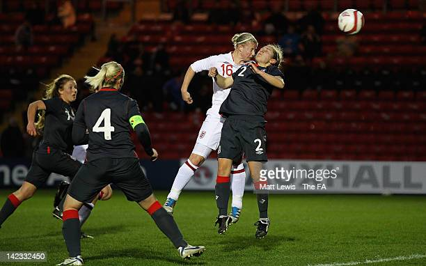 Bethany England of England scores a goal from a header during the UEFA European Women's U19 Championship Qualifier match between England and Wales at...